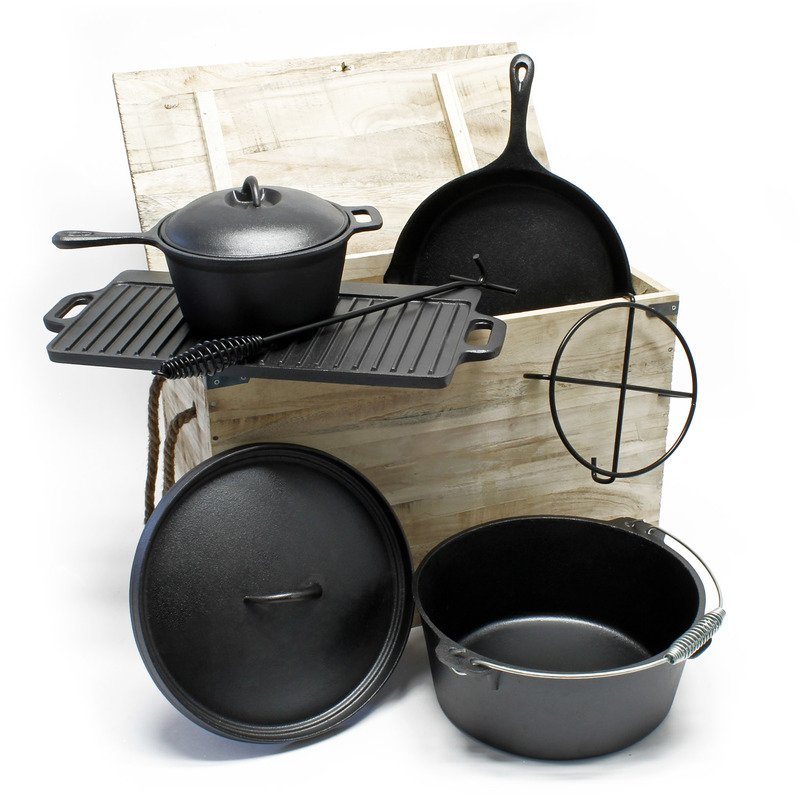 Cast Iron Camping Oven Set 6 Pcs Dutch Oven Cookware