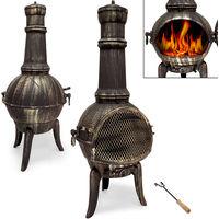 Cast Iron Chiminea Aztec Oven Stove Heater for Patio Terrace 112 cm