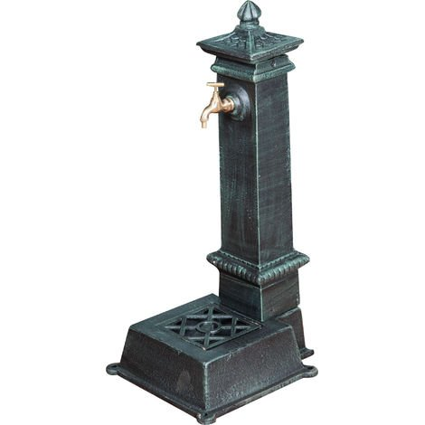 Cast iron fountain with antique green finish