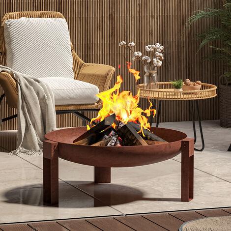 "main image of ""Cast Iron Mild Steel Fire Pit Garden Log Burner Bowl Heater Bonfire Home"""