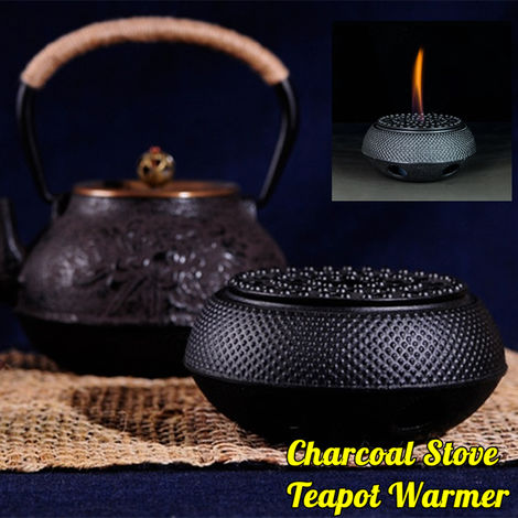 Cast Iron Teapot Heater Heat Resistant Round Teapot Heater Insulation Base Candle Holder Charcoal Stove Decor Handmade Handmade Hasaki