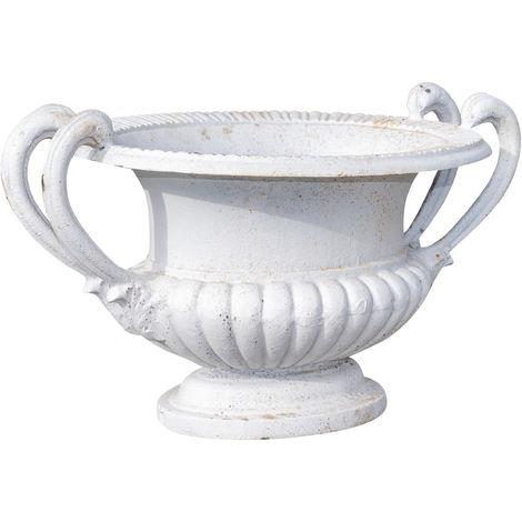 Cast iron vase with handles antique white finish