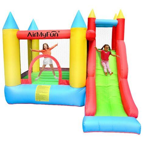 Castillo hinchable 2,80m Play4Fun Sunny Jelly- Espacio de juego con tobogán-escalada Infaldor y mochila de transporte incluidos - Multicolor