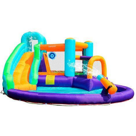 Castillo hinchable 4,30m Play4Fun Sunny Jungle con tobogán y diana- Infaldor y mochila de transporte incluidos - Multicolor