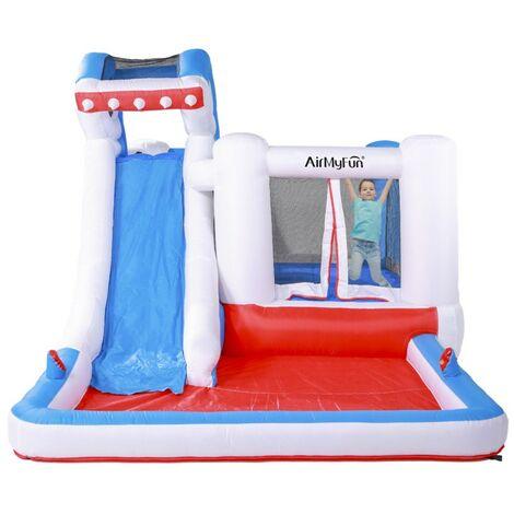 Castillo hinchable acuático para niños - 4,80m - Con tobogán y piscina - Sharky Bay - Multicolor