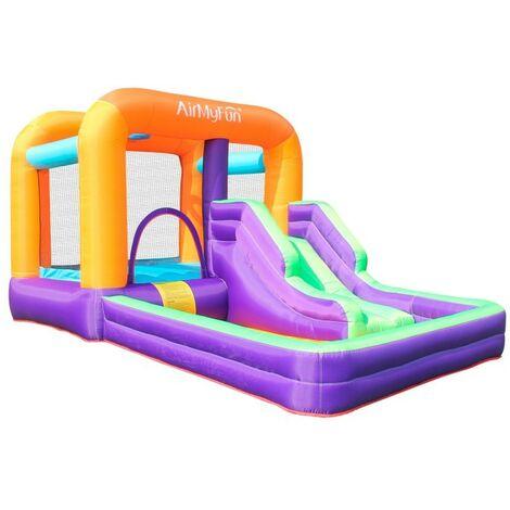Castillo Hinchable - Aqua Parc - Superficie 410x240x200 cm - Con inflador y mochila - Multicolor