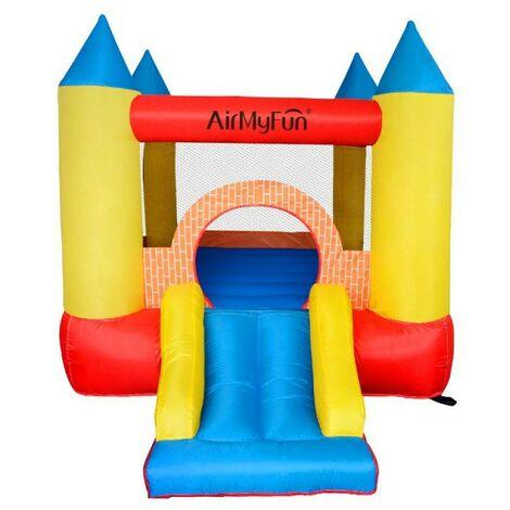 Castillo Hinchable-Castle Bouncer- Aire de juego con tobogán - Superficie 280 x 210 x 185 cm- Con inflador y mochila - Multicolor
