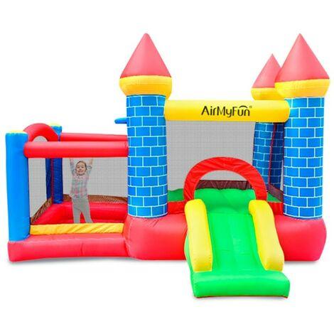 Castillo Hinchable con tobogán : Castle Bouncer Deluxe - Superficie 300 x 275 x 210 cm toboggan - inflador y mochila - Multicolor