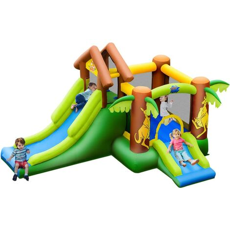 Castillo Hinchable con Tobogán para Infantil Parque Centro de Juego de 390x340x230cm para Jardín Exterior Hogar
