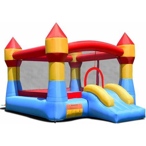 Castillo Hinchable con Tobogán para Niños 370x280x230cm Infantil Jueguete para Parque Patio Jardín