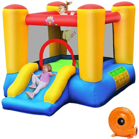 Castillo Hinchable con Tobogán para Niños con Soplador Centro de Juego con Bolsa de Transporte para Parque Patio Jardín Exterior