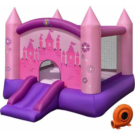 Castillo Hinchable con Tobogán para Niños con Soplador de 350W Centro de Juego con Bolsa de Transporte y Kit de Reparación para Parque Patio Jardín Exterior