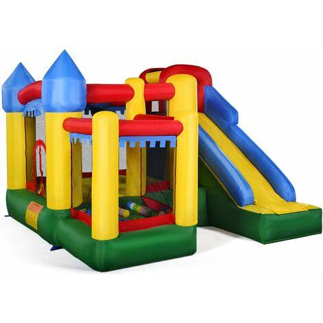 Castillo Hinchable para Niños con Tobogán y Bolas 305x305x213cm Centro de Juego Inflable