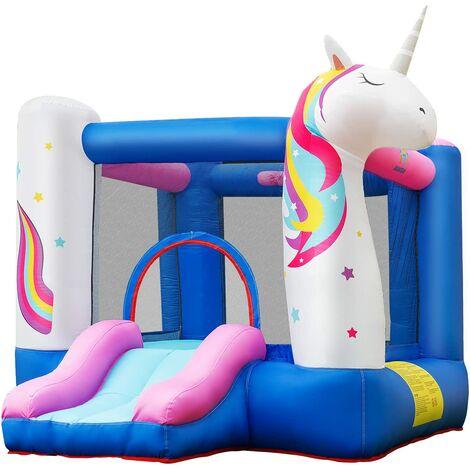 Castillo Hinchable Unicornio para Niños con Tobogán 270 x 200 x 196 centímetros Castillo Inflable de Juego con Bolsa de Transporte y Kit de Reparación Sin Soplador