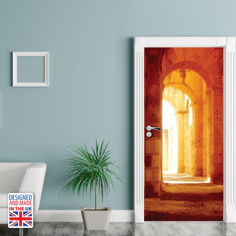 Castle Hallway Self-Adhesive Door Mural Sticker For All Europe Size 90Cm X 200Cm