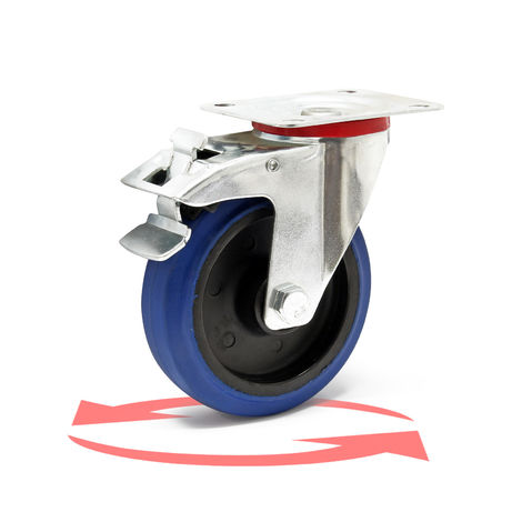 Castor Wheel with Mounting Bracket, Brake, Wheel ⌀ of 125 mm and Carrying Capacity of 200kg