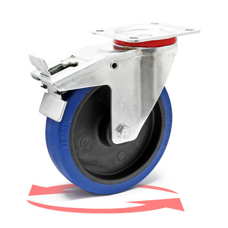 Castor Wheel with Mounting Bracket, Brake, Wheel ? of 200 mm and Carrying Capacity of 350kg