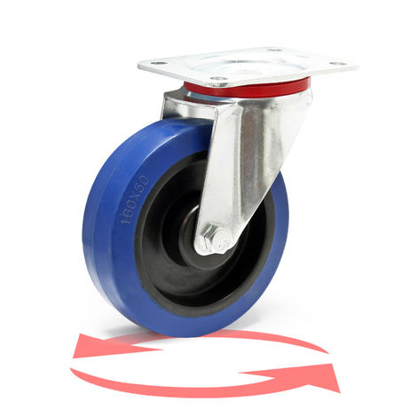 Castor Wheel with Mounting Bracket, Wheel ⌀ of 160 mm and Carrying Capacity of 300kg