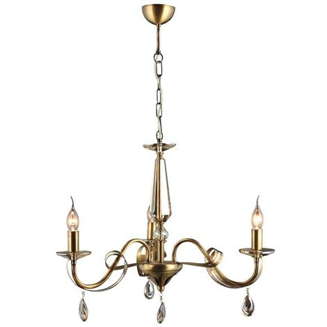 Castro Chandelier - Hanging lamp - Ceiling lamp - Copper made of Metal, Crystal, 62 x 62 x 95 cm, 3 x E14, 40 W