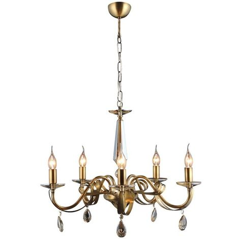 Castro Chandelier - Hanging lamp - Ceiling lamp - Copper made of Metal, Crystal, 62 x 62 x 95 cm, 5 x E14, 40 W