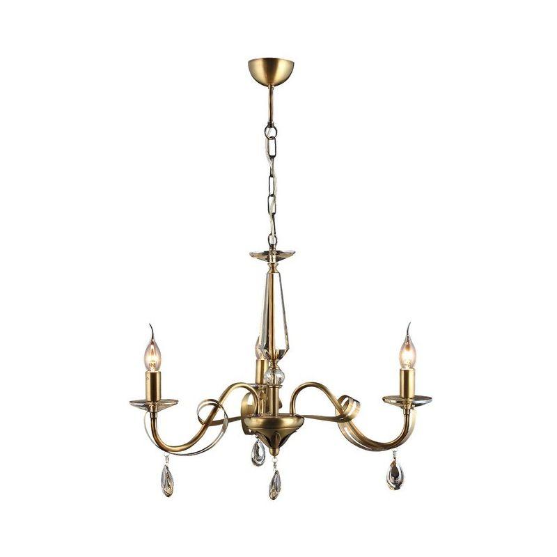 Homemania - Castro Kronleuchter - Haengeleuchte - Deckenleuchte - Kupfer aus Metall, Kristall, 62 x 62 x 95 cm, 3 x E14, 40 W