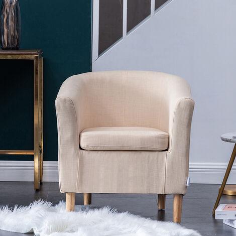 Casual Fabric Linen Tub Chair Armchair Bucket Seat Sofa, Beige