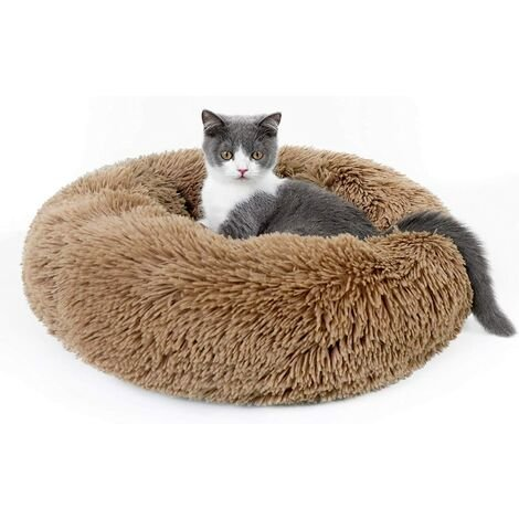 """main image of """"Cat Basket, Cushion Dog Cat Round Plush, Extra Soft and Comfortable, Washable Cat Bed, Shopping Cart Anti Stress Ideal for Kitten Puppies Small Animals, (50cm, Coffee Color)"""""""