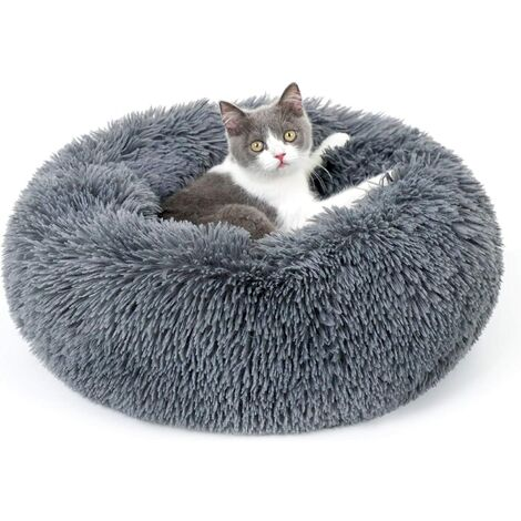 Cat Bed for Indoor Cats, 20 x 20 inches Fluffy Round Self Warming Calming Soft Plush Donut Cuddler Cushion Pet Bed for Small Dogs Kittens, Machine Washable, Non-Slip, Dark Grey, Medium