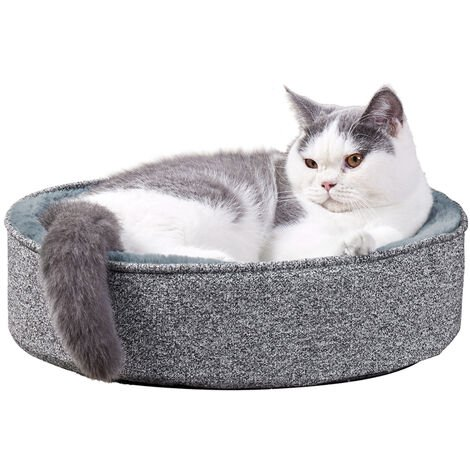 Cat Bed Memory Foam Ergonomic Contour Cradle Lounger Calming Fleece Round Basket