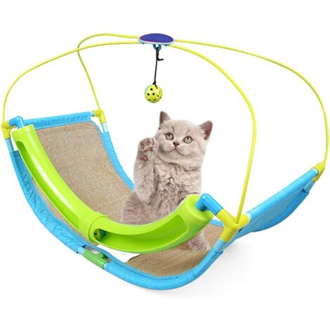 Cat Beds for Indoor Cats, Cat Scratch Cradle with Scratch Mat for Summer Cat Activities and Hanging Balls for Pets
