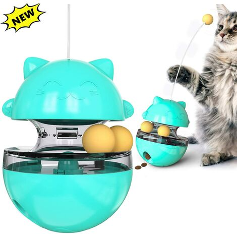 Cat Cup Toy 4 in 1 Interactive Cat Toys with Stick Cat Ball Toy Cat Slow Feeder Food Dispenser Toys Kitten Balls Educational Cat Training Blue