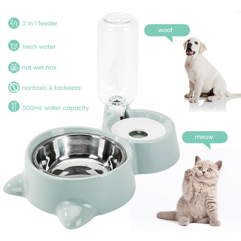 Cat Dog Feeder Water Food Bowl Set Dogs Cats Stainless Steel Automatic Water Dispenser Double Pet Bowls Bottle