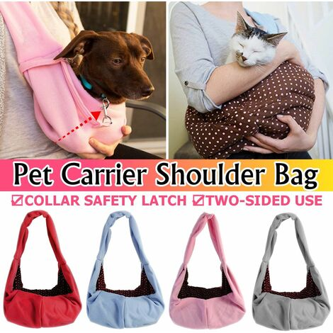 Cat / Dog Pet Carrier Soft Sided Comfort Bag Travel Pouch Sling Backpack (pink, cotton type (46cm x 28cm))