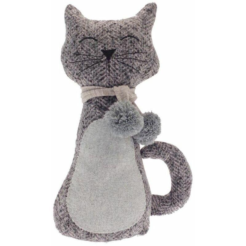 Image of Cat Grey Door Stop Novelty Herringbone Decorative Animal