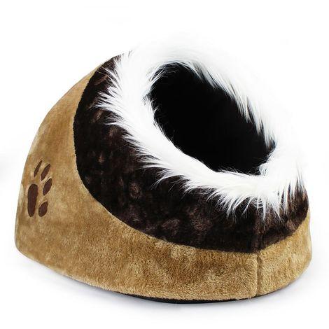 Cat House, Plush Pet Dog Cat Cave, 41 x 38 x 26 cm (16 x 15 x 10.2 inch), Brown, Material: Soft sponge, PP