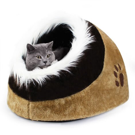 Cat House, Plush Pet Dog Cat Cave, 48 x 43 x 32 cm (19 x 17 x12.6 inch), Brown, Material: Plush, PP
