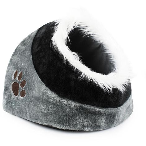 Cat House, Plush Pet Dog Cat Cave, 48 x 43 x 32 cm (19 x 17 x12.6 inch), Grey, Material: PP, Soft sponge