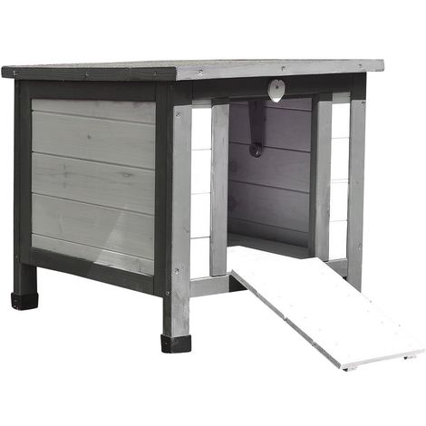 Cat House White/Grey Cat Cottage Outdoor Cat Cave Litter Box Wood Cat House