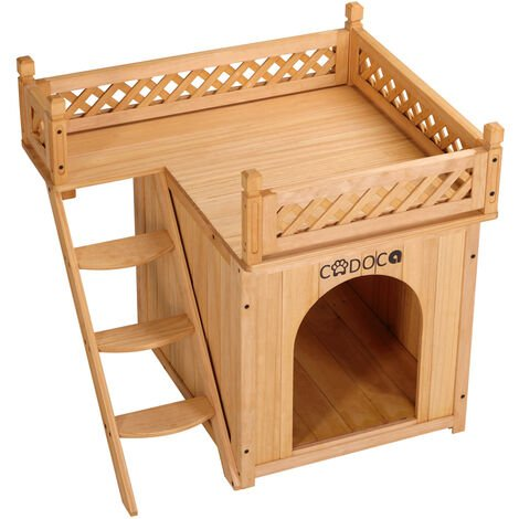 Cat house with balcony Cat cave wood 2 floors