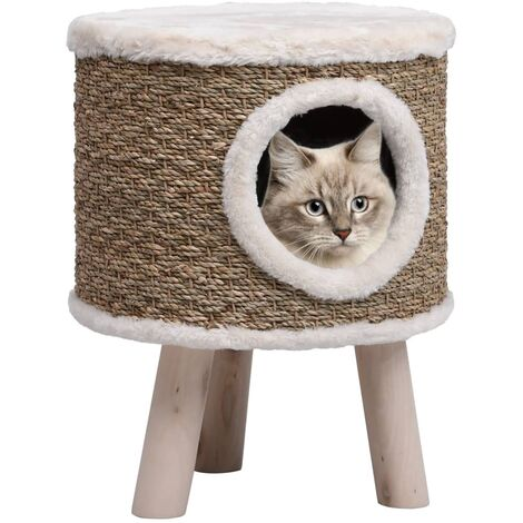 Cat House with Wooden Legs 41 cm Seagrass
