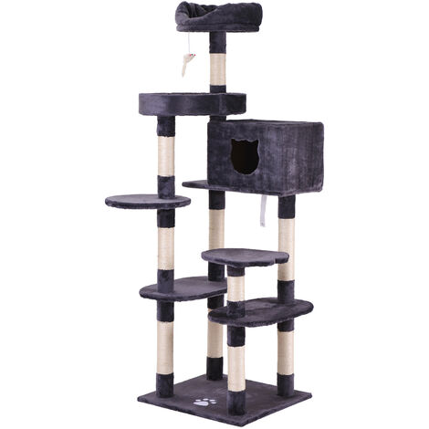 Cat Kitten Tree Gray, 175cm Cat Tower Big cat activity center with sisal scratching posts