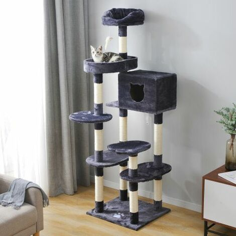 Cat Kitten Tree Grey, 175cm Cat Tower Activity Centre for Large Cat with Sisal Scratching Posts