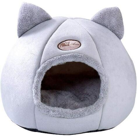 "main image of ""Cat Nest House for Cat, Animal Cave, Anti-slip animal heat, Mobile soft bed, Foldable mattress, Animal cushion (36 x 36 x 36 cm, Gray)"""