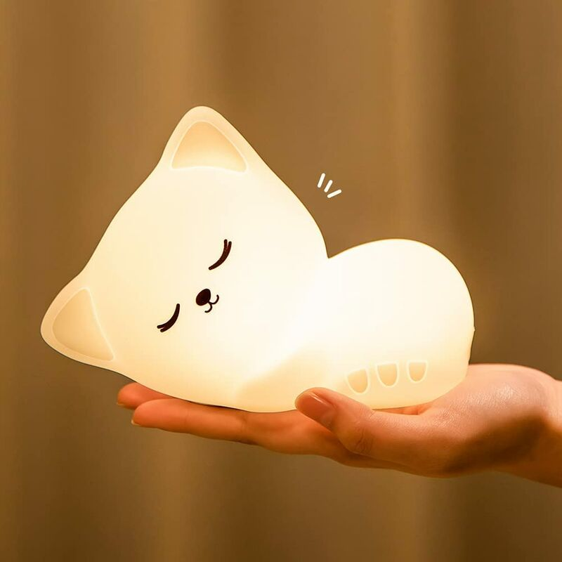 Cat Night Light for Kids Girls,Cute Lamp Silicone Cat Lamp Baby Toddler Girls Night Light Color Changing Nursery Touch Cat Light,Battery Powered