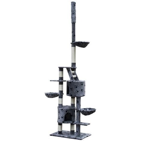 Cat Play Tree Cuddles XL 230 - 260 cm Grey with Paw Prints