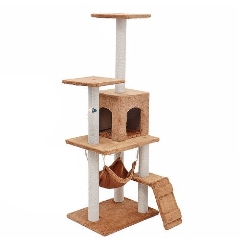 """main image of """"Cat Scratcher Tree Scratching Post Climbing Tower 125*40*50cm Brown"""""""