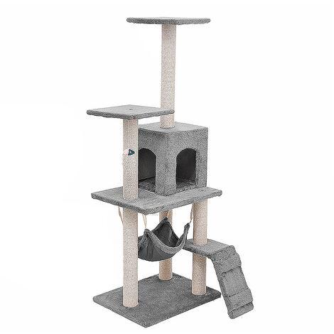 Cat Scratcher Tree Scratching Post Climbing Tower 125*40*50cm lightgray