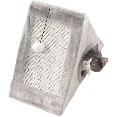 Cat Scratching Board with Toy Ball Cave Folding Plush Grey