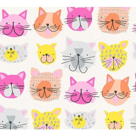 Cat Themed Wallpaper Colourful Kittens Textured Pink Orange Yellow Grey Kids