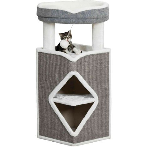 Cat Tower Arma. 38 x 38 x 98 cm high. Grey and white colour.